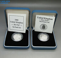 ROYAL MINT TWO SOLID STERLING SILVER PROOF 1 COINS MINT IN BOXES 1988 & 1989