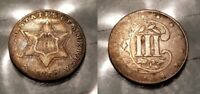 1857 THREE CENT SILVER 3C NICE EYE APPEAL