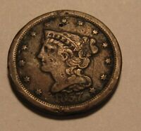 1857 BRAIDED HAIR HALF CENT PENNY   CIRCULATED CONDITION /