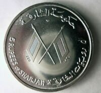 1965 SHARJAH  GULF STATE UAE  5 RUPEES   EXTREMELY RARE SILV