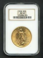 1928 SAINT GAUDENS GOLD $20 DOUBLE EAGLE G$20 NGC MS62