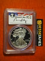 1999 P PROOF SILVER EAGLE PCGS PR70 DCAM EDMUND MOY SIGNED FLAG LABEL POP 78
