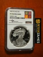 2003 W PROOF SILVER EAGLE NGC PF70 ULTRA CAMEO MERCANTI SIGNED REAGAN ART LABEL
