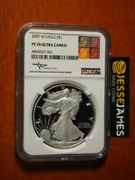 2007 W PROOF SILVER EAGLE NGC PF70 ULTRA CAMEO MERCANTI SIGNED REAGAN ART LABEL