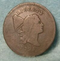 1795 NO POLE PLAIN EDGE LIBERTY CAP HALF CENT VG   UNITED STATES COIN