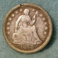 1843 SEATED LIBERTY SILVER HALF DIME VF   UNITED STATES COIN