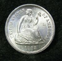 1862 CIVIL WAR ERA SEATED LIBERTY SILVER HALF DIME UNCIRCULATED   US COIN