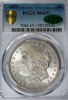 1879 MORGAN PCGS MINT STATE 65 CAC-VERIFIED SILVER DOLLAR GEM, SOLID FOR GRADE