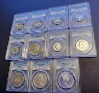 11 X MIXED COUNTRY & GRADES ALL SILVER GRADED COIN LOT & PCG