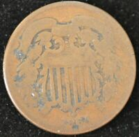 1864 LG. MOTTO GOOD TWO CENT PIECE 2