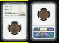 1835 CLASSIC HEAD HALF CENT  NGC MS63RB