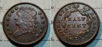 1835 BRAIDED HAIR HALF CENT CLASHED DIE/ REPUNCHED 835 / INT