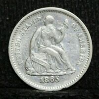 1865 S LIBERTY SEATED HALF DIME LOW MINTAGE VF/EXTRA FINE   FINE