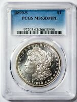 1890-S MORGAN PCGS MINT STATE 63DMPL CAMEO DEEP MIRROR PROOF-LIKE SILVER DOLLAR