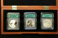 2006 SILVER EAGLE 20TH ANNIVERSARY SET ICG PR69, RP69, SATIN FINISH 69