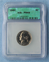1962 PROOF JEFFERSON NICKEL - ICG GRADED PR69 5C