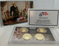 2007 US MINT PRESIDENTIAL $1 DOLLAR COIN PROOF SET W/ 4 $1 COINS, COA & OGP BOX