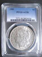 1901-P MORGAN DOLLAR, PCGS AU-50 - LUSTROUS -  FOR THE GRADE - ORIG