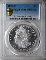 1890-S MORGAN PCGS MINT STATE 64DMPL DEEP MIRROR PROOF-LIKE SILVER DOLLAR