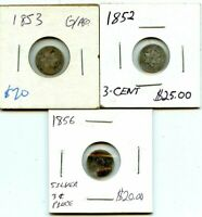 1852 1853 & 1856 SILVER THREE CENT COINS  ..STARTS@ 2.99
