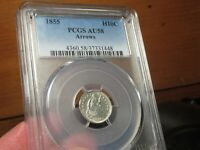REALLY BEAUTIFUL 1855 H10C  HALF DIME  PCGS  AU 58 ALL BRIGHT & WHITE  LOOKS UNC
