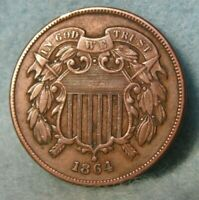 1864 CIVIL WAR ERA TWO CENT PIECE XF   UNITED STATES COIN
