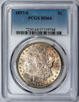 1897-S MORGAN PCGS MINT STATE 64 CHOICE, TONED SILVER DOLLAR