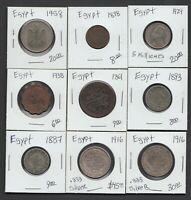 LOT 9 EGYPTIAN COINS 1861 1887 1916 SOME SILVER