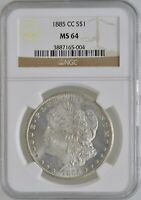1885-CC MORGAN SILVER DOLLAR $1 NGC MINT STATE 64 CARSON CITY INVESTMENT COIN BULLION