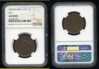 1819/8 LARGE DATE OVERDATE CORONET LARGE CENT  NGC AU58BN
