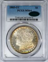 1885-CC MORGAN PCGS MINT STATE 64 CAC-VERIFIED COLOR TONED SILVER DOLLAR