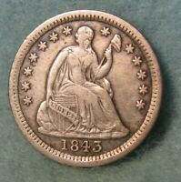 1843 SEATED LIBERTY SILVER HALF DIME   BETTER GRADE   UNITED STATES COIN