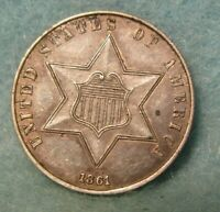 1861 CIVIL WAR ERA THREE CENT SILVER   HIGH GRADE   UNITED STATES COIN