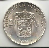 CURACAO SILVER 21/2 GULDEN 1944 CROWN UNC       272S      BY