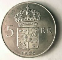 1955 SWEDEN 5 KRONOR   EXCELLENT UNCOMMON DATE SILVER COIN