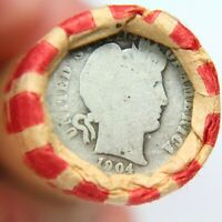 1904 BARBER DIME ON END OF 50 COIN MIXED WHEAT ROLL EXACT RO