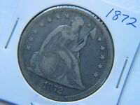 1872 LIBERTY SEATED SILVER DOLLAR  CIRCULATED COIN FINE