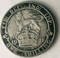 1911 GREAT BRITAIN SHILLING   HIGH VALUE SHARP SILVER COIN
