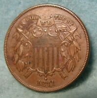 1871 TWO CENT PIECE AU  HINTS OF MINT LUSTER  UNITED STATES COIN 4074