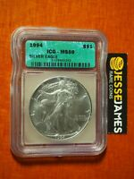 1994 $1 AMERICAN SILVER EAGLE ICG MINT STATE 69 GREEN LABEL