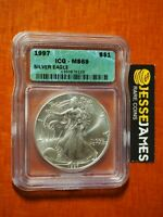 1997 $1 AMERICAN SILVER EAGLE ICG MINT STATE 69 GREEN LABEL