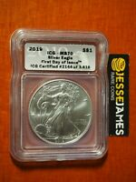 2019 AMERICAN SILVER EAGLE ICG MS70 FIRST DAY OF ISSUE LABEL