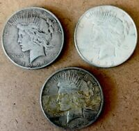 LOT OF 3 PEACE SILVER DOLLARS-1922/1923/1926