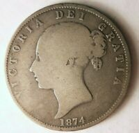 1874 GREAT BRITAIN 1/2 CROWN   HIGH QUALITY VINTAGE SILVER C