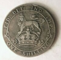 1915 GREAT BRITAIN SHILLING   HIGH VALUE SHARP SILVER COIN