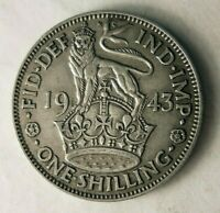 1943 GREAT BRITAIN SHILLING   HIGH QUALITY WW2 ERA SILVER CO