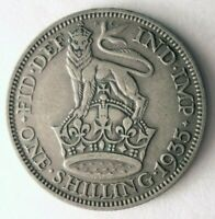 1935 GREAT BRITAIN SHILLING   HIGH VALUE SHARP SILVER COIN