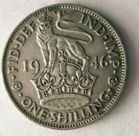 1946 GREAT BRITAIN SHILLING   HIGH QUALITY WW2 ERA SILVER CO