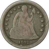 1842-O LIBERTY SEATED SILVER DIME, F, UNCERTIFIED