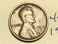 1917-S LINCOLN WHEAT SMALL CENT PENNY 4496K